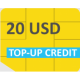 GlobalSIM 20 USD Top-up Credits